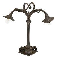 Art Nouveau bronze double light lily table lamp Alexis Andre for Hesse & Cie