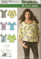 Misses Simplicity Pattern 2936 BLOUSE SLEEVE VARIATIONS 6 MADE EASY 8-16 UNCUT