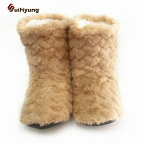 Plush Shoes Fuzzy Women Indoor Slippers Winter Comfy Soft Non-slip Foot Warmer
