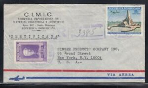 DOMINICAN REPUBLIC Registered Cover Santo Domingo to New York 4-12-1965 Cancel