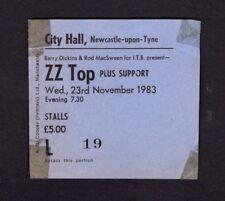 Original 1983 Zz Top Wendy Rocketts concert ticket stub Newcastle Uk Eliminator