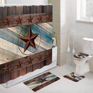 Rustic Shower Curtain, Western Cowboy Country Farmhouse Barn Texas Stars 4 Pcs
