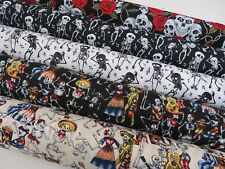 Day Of The Dead Skeletons Halloween Mexican 100% Cotton Fabric 150cm Wide SKULLS