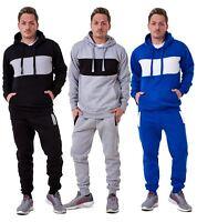 Mens Tracksuit Branded Fleece Pullover Hooded Stripe Cotton Jogging Bottom S-XXL