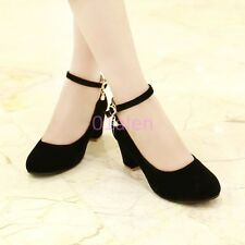 Lady Womens Girls Ankle Strap Faux Suede Chunky Heel Court Work Shoes Plus Size