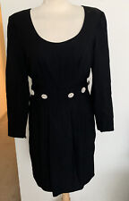 Vtg Guy Laroche Boutique Made In France Dress W/ Rhinestone  Detail Sz 40 US 10