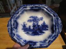 Antique SCINDE FLOW BLUE Oval Vegetable Bowl w/Handles