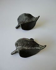 EXQUISITE VINTAGE BRONZE ? LES CHEFS ASPEN LEAF DRAWER / CUPBOARD HANDLES
