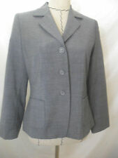 Vouge womens blazer GRAY career long sleeve jacket wool schurwolle size 6 36