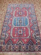 4x6 Kazak Balcony Carpet Karachi Hand Knotted Area Rug