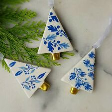 Set of 3 blue and white ceramic trees Christmas decorations by Gisela Graham