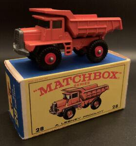 MATCHBOX REG.WHEEL NO.28-D MACK DUMP TRUCK ORANGE BODY, RED HUBS
