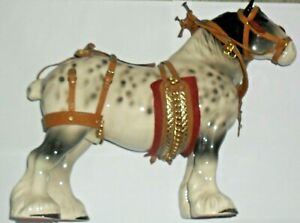 "LARGE DAPPLE GREY SHIRE HORSE FIGURINE WITH FULL TACK.   11.5"" TALL"