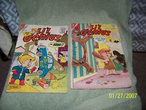 lot of  {2} vintage1960's comic books   charlton comics {li'l genius}