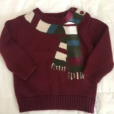 Gymboree Grizzly Lakes Burgundy scarf pullover sweater EUC 12-18 months
