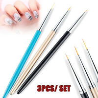 3pcs Nail Art Liner Brushes set UV Gel Polish Drawing Painting Pen Manicure Tool
