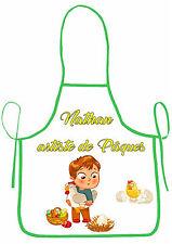tablier de cuisine joyeuses pâques garçon personnalisable avec prénom réf 38