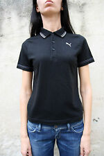 Puma Ladies Short Sleeved Black Polo T-Shirt Top Cotton  S Small Auth