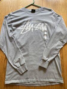 Stussy Longsleeve Logo T-Shirt  Grey   Medium 