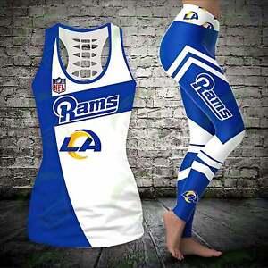 Los Angeles Rams Women's Tank Top Leggings 2PCS High Waist Stretch Yoga Pants