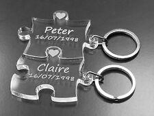 Puzzle Keyring Set Personalised Names & Date Birthday Wedding !!! WOW
