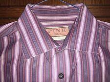 THOMAS PINK PURPLISH STRIPED 100% COTTON DRESS SHIRT EXCLNT COND. SIZE 16.5 (42)
