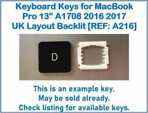 "Keyboard Keys for MacBook Pro A1708 13"" 2016 2017 UK Layout Backlit [REF: A216]"