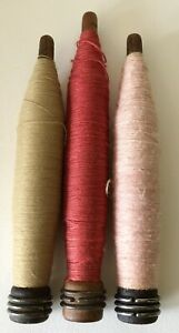 """3 Antique Wooden Textile Thread Spool Yarn Weaving Spinning Spindle Bobbins 8"""""""