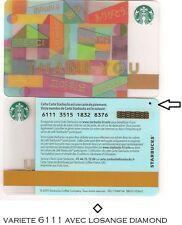 CARTE CADEAU-GIFT CARD-STARBUCKS-FRANCE-FR-n°6111-thank you VARIETE DIAMOND