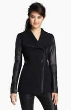 New Auth Mackage Asymmetrical Zip Mixed Media Coat Black Leather Sleeve Size S/P