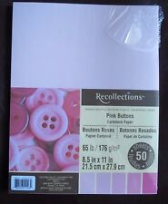 """NEW ~ RECOLLECTIONS ~ CARDSTOCK PAPER ~ 8.5"""" X 11"""" ~ PINK BUTTON ~ 50 SHEETS"""