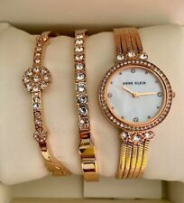 ORIGINAL Anne Klein Watch Set Swarovski Crystals 2 Bracelets Rose Gold