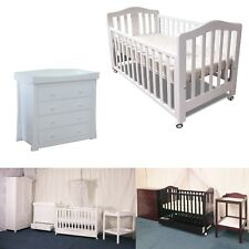3 in 1 Classic Cot & Chest with Changer Top Crib Baby bed Mattress Drawers White