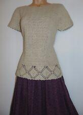 Laura Ashley Vintage Hand Crochet Ramie Cotton Bohemian Top Jumper, Medium