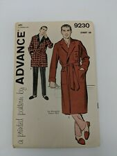 Vtg ADVANCE 9230 Mens Robe in Two Lengths Pattern Sewing Chest 38 Complete UC FF