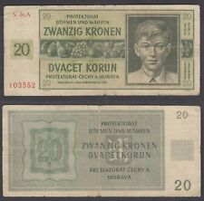 Bohemia & Moravia 20 Korun 1944 (VG-F) Condition Banknote P-9a NOT PERFORATED