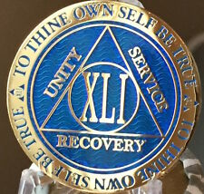 41 Year AA Medallion Blue Gold Plated Alcoholics Anonymous Sobriety Chip Coin