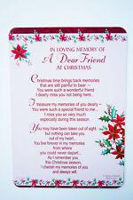 Christmas Memorial Card Graveside Dear Friend In Loving Memory Poem Verse Grave