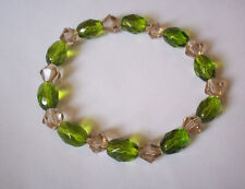 NEW BUY 2 GET 3RD FREE, GREEN FACETED GLASS & CHAMPAGNE CRYSTAL BRACELET