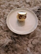 Porcelain Dish Jewelry Ring Holder. Wise Owl Figurine. Gold Toned.
