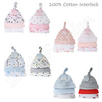 Pack of 3 Baby Boys Girls Soft 100% Cotton Knotted & Beanie Hats Set 0-9 Months