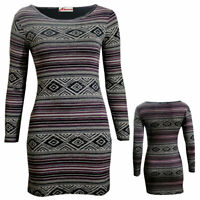 Women Ladies Long Sleeve Bodycon Aztec Stripe Print Tunic Mini Dress SZ 8-14