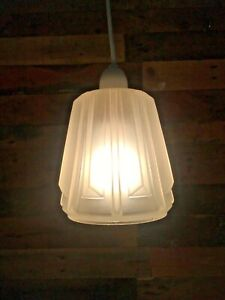 ART DECO GLASS FROSTED GEOMETRIC FACETED CEILING PENDANT LAMP SHADE FRENCH CZECH