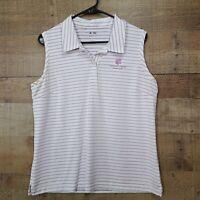 Adidas Climalite Womens Large Golf Polo Shirt Tank Top Stripes Polyester Logo