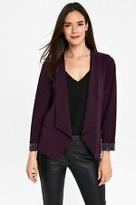 Ex Wallis Berry Plum Purple Embellished Beaded Jacket Blazer Size 8-18 BNWOT