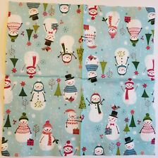 Two (2) Paper Napkins for Decoupage Crafts - Snowman Snowmen Winter Sweater