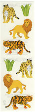 Mrs. Grossman's Stickers - Wild Cats - Lion, Tiger, Leopard - 4 Strips