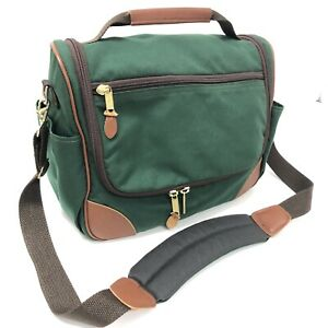 Vtg 80's LL Bean Freeport Maine Men Green Canvas Leather Bag Over Night Carry On
