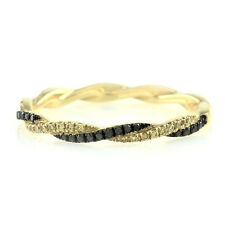 Hidalgo Pave Black and Yellow Diamond Twisted Ring Guard in 18K Yellow Gold | FJ