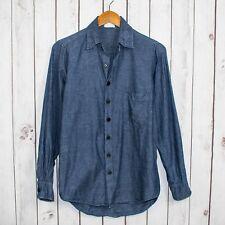 CP SHADES Men's Button Front Shirt Blue Chambray Herringbone Cotton Sz XS USA